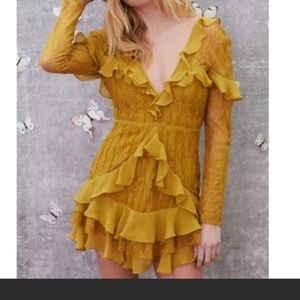 For Love and Lemons Yellow lace Dress. New w/ tags